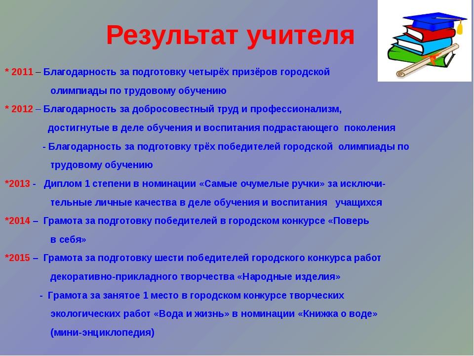 Результат учителя * 2011 – Благодарность за подготовку четырёх призёров город...