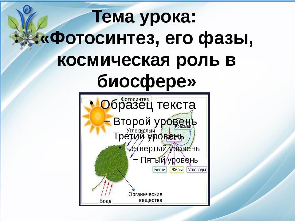 Тема урока: «Фотосинтез, его фазы, космическая роль в биосфере»
