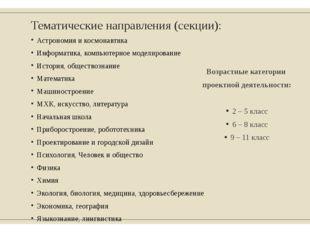 Тематические направления (секции): Астрономия и космонавтика Информатика, ком