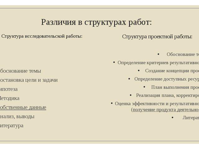 Различия в структурах работ: Структура исследовательской работы: Обоснование...