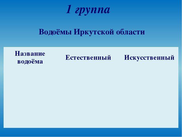 1 группа Водоёмы Иркутской области Название водоёма Естественный Искусственный