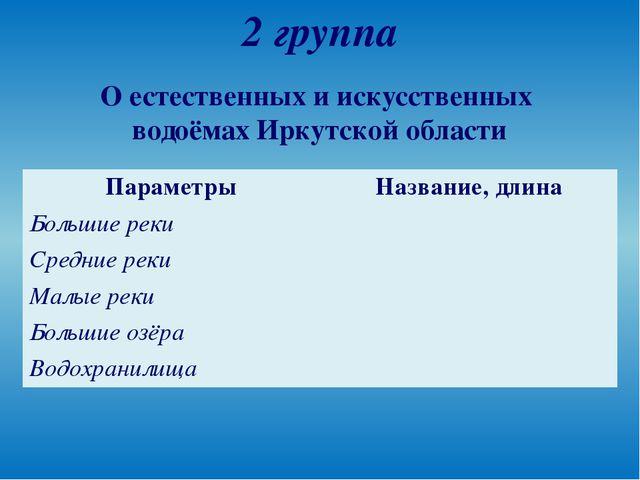 2 группа О естественных и искусственных водоёмах Иркутской области Параметры...