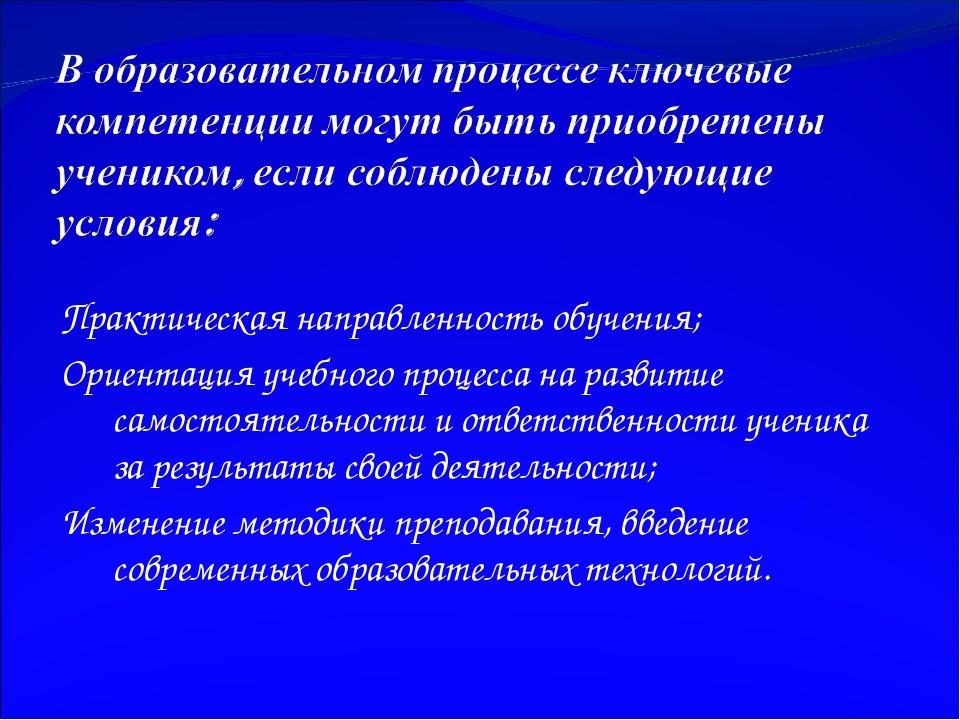 Практическая направленность обучения; Ориентация учебного процесса на развити...