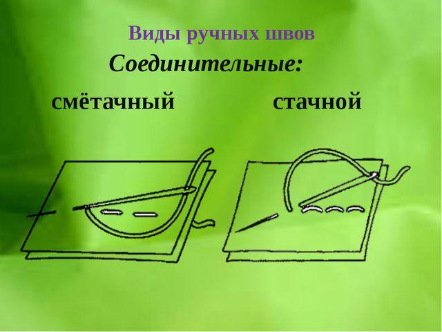 Виды ручных швов Соединительные: смётачный стачной