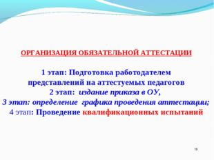 * ОРГАНИЗАЦИЯ ОБЯЗАТЕЛЬНОЙ АТТЕСТАЦИИ 1 этап: Подготовка работодателем предст