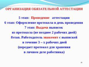 * ОРГАНИЗАЦИЯ ОБЯЗАТЕЛЬНОЙ АТТЕСТАЦИИ 5 этап: Проведение аттестации 6 этап: О