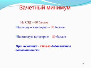 Зачетный минимум На СЗД – 60 баллов На первую категорию – 70 баллов На высшу