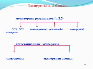 * Экспертиза из 2 блоков мониторинг результатов (п.3.5) ЕГЭ, ЕРЭ тестировани