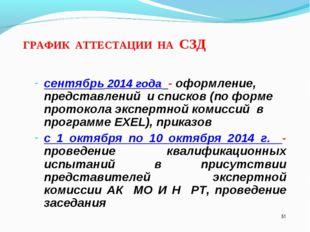 * ГРАФИК АТТЕСТАЦИИ НА СЗД сентябрь 2014 года - оформление, представлений и с