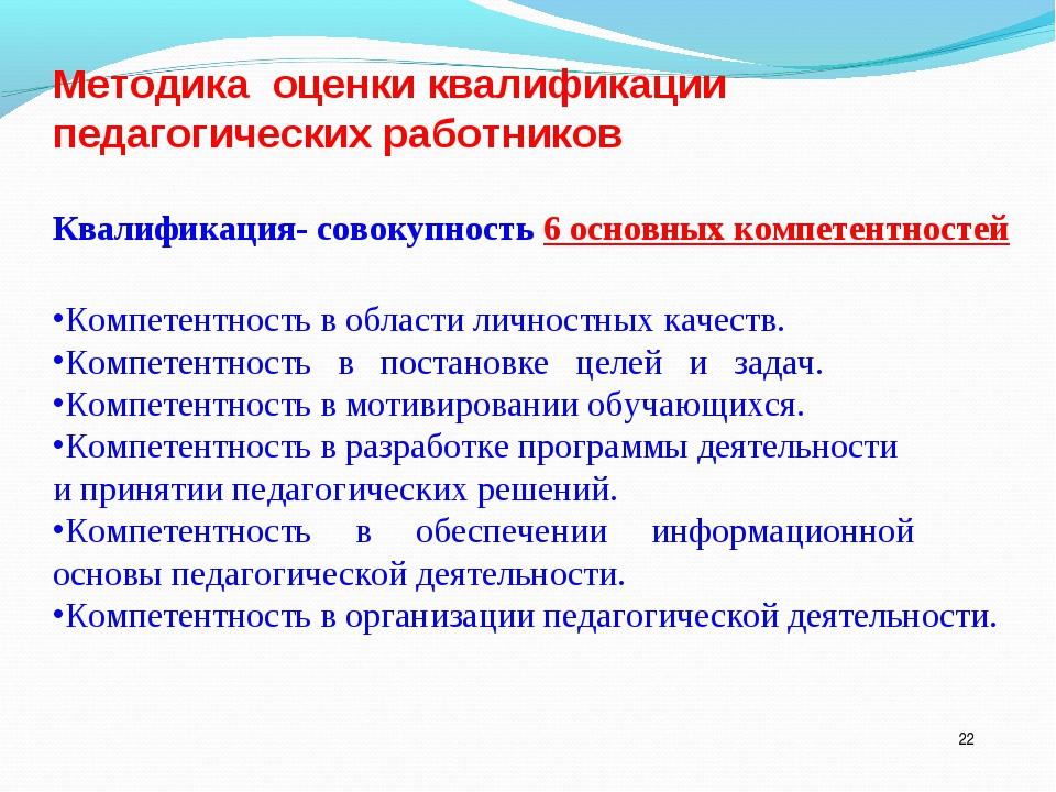 * Методика оценки квалификации педагогических работников Квалификация- совоку...