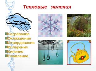 Тепловые явления Нагревание Охлаждение Отвердевание Испарение Кипение Плавление