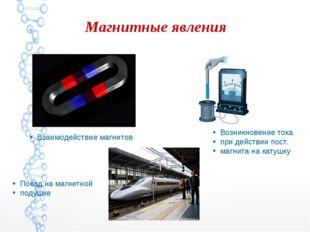 Магнитные явления Взаимодействие магнитов Поезд на магнитной подушке Возникно