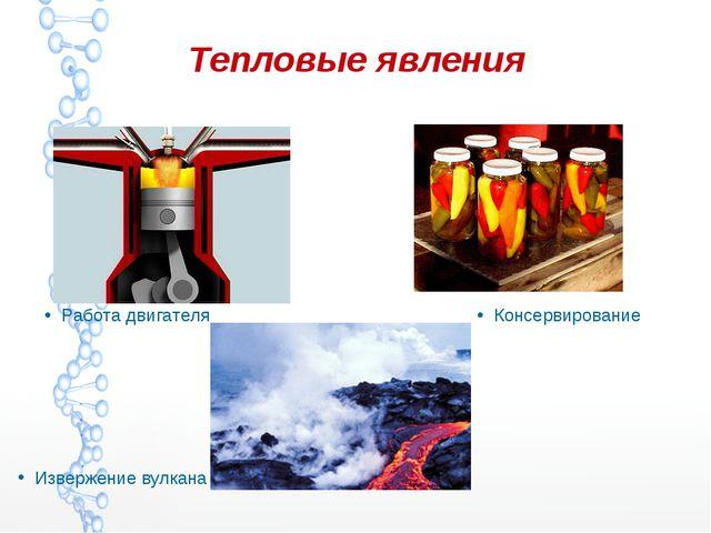 Тепловые явления Работа двигателя Консервирование Извержение вулкана