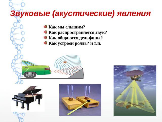Звуковые (акустические) явления Как мы слышим? Как распространяется звук? Как...