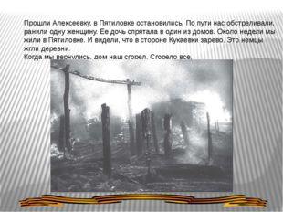 Прошли Алексеевку, в Пятиловке остановились. По пути нас обстреливали, ранили