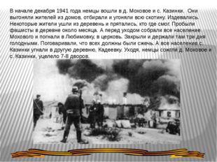 В начале декабря 1941 года немцы вошли в д. Моховое и с. Казинки. Они выгонял