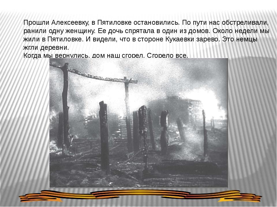 Прошли Алексеевку, в Пятиловке остановились. По пути нас обстреливали, ранили...