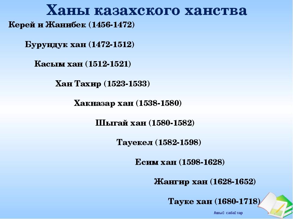 Ханы казахского ханства Керей и Жанибек (1456-1472) Бурундук хан (1472-1512)...