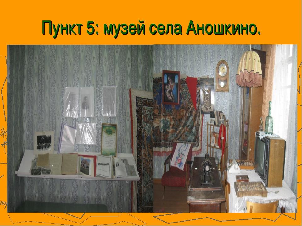 Пункт 5: музей села Аношкино.