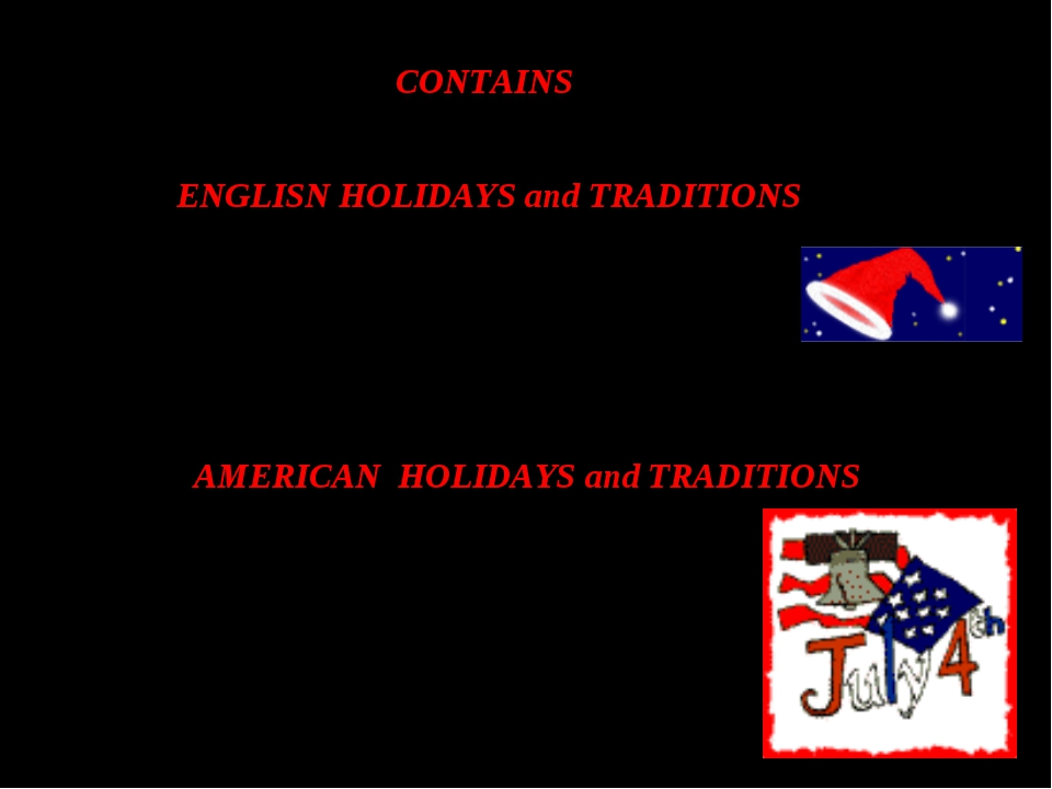 CONTAINS ENGLISN HOLIDAYS and TRADITIONS 1 NEW YEAR 2 CHRISTMAS AMERICAN HOL...