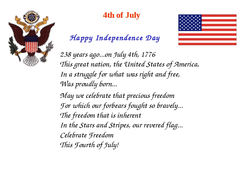 Happy Independence Day 4th of July 238 years ago...on July 4th, 1776 This gre...