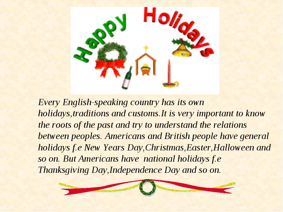 Every English-speaking country has its own holidays,traditions and customs.It...