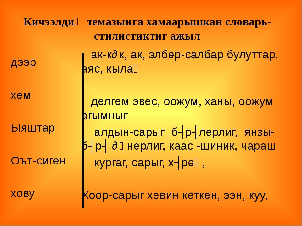 дээр хем Ыяштар Оът-сиген хову ак-кɵк, ак, элбер-салбар булуттар, аяс, кылаң...