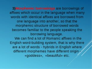 3)Morphemic borrowings are borrowings of affixes which occur in the language