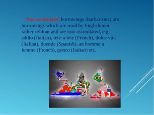 Non-assimilated borrowings (barbarisms) are borrowings which are used by Eng