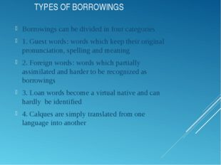 TYPES OF BORROWINGS Borrowings can be divided in four categories 1. Guest wor