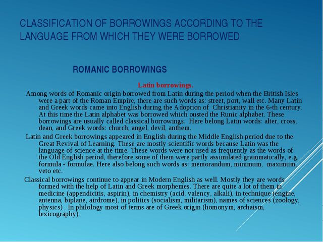 CLASSIFICATION OF BORROWINGS ACCORDING TO THE LANGUAGE FROM WHICH THEY WERE B...