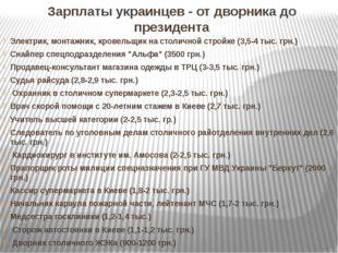 Зарплаты украинцев - от дворника до президента Электрик, монтажник, кровельщи