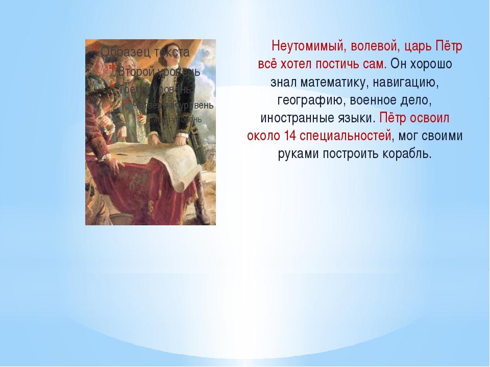 Неутомимый, волевой, царь Пётр всё хотел постичь сам. Он хорошо знал математ...