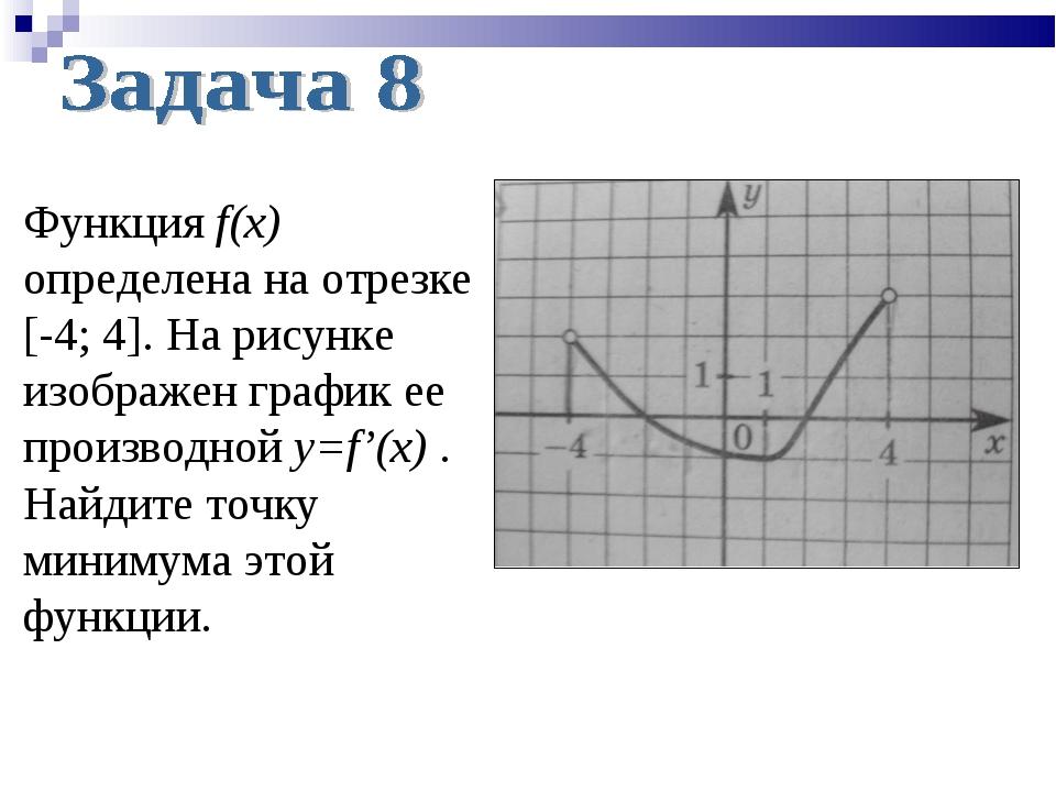 Функция f(x) определена на отрезке [-4; 4]. На рисунке изображен график ее пр...