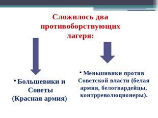 Сложилось два противоборствующих лагеря: Большевики и Советы (Красная армия)
