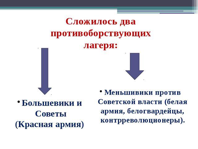 Сложилось два противоборствующих лагеря: Большевики и Советы (Красная армия)...