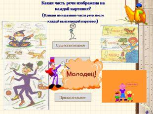 Какая часть речи изображена на каждой картинке? (Кликни по названию части реч