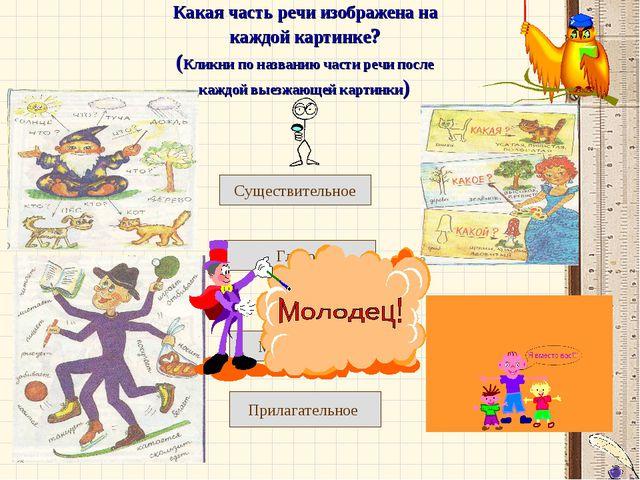 Какая часть речи изображена на каждой картинке? (Кликни по названию части реч...