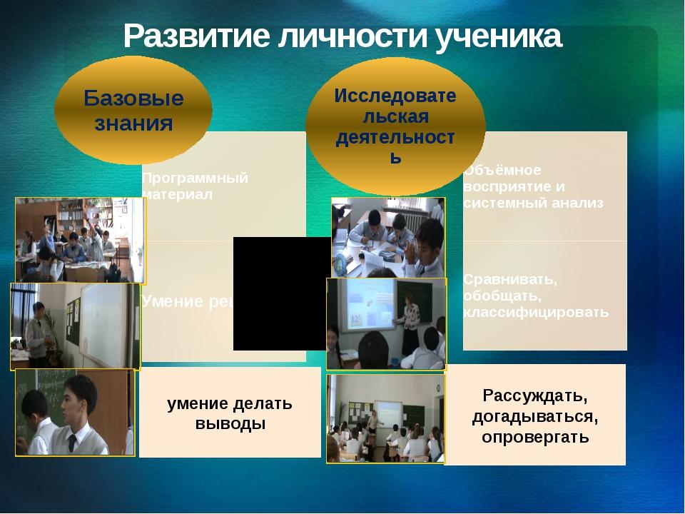 Развитие личности ученика умение делать выводы Рассуждать, догадываться, опро...