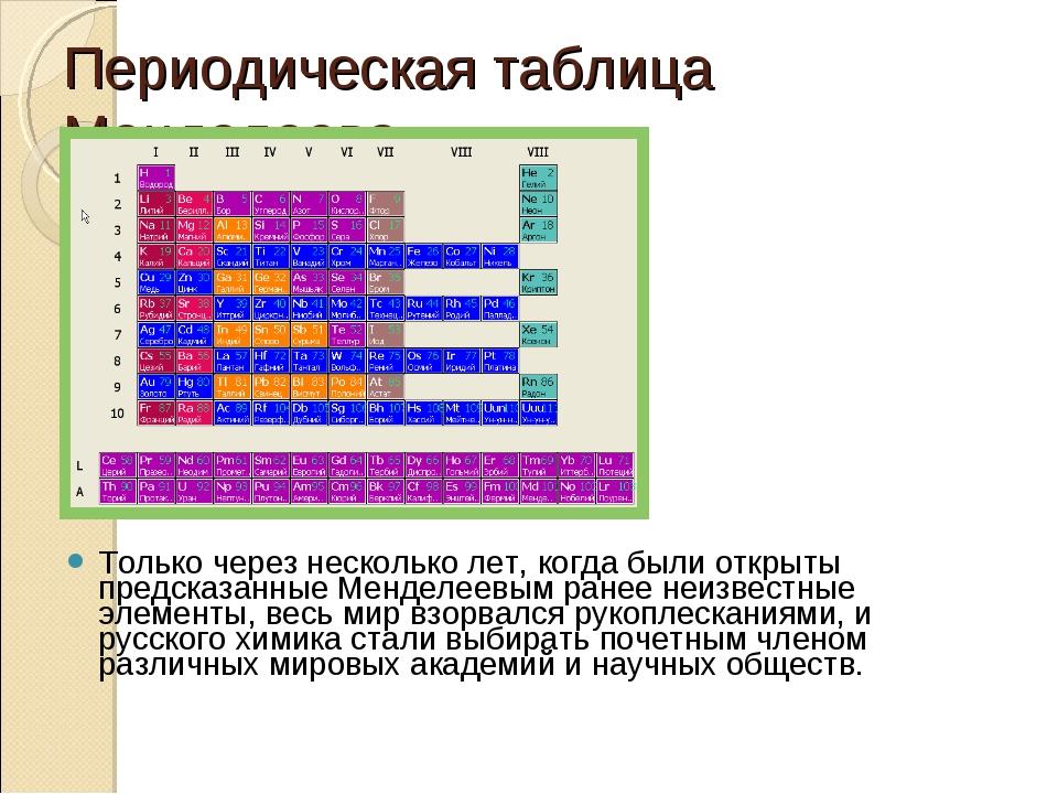Периодическая таблица Менделеева Только через несколько лет, когда были откры...