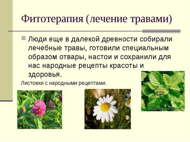 Фитотерапия (лечение травами) Люди еще в далекой древности собирали лечебные...
