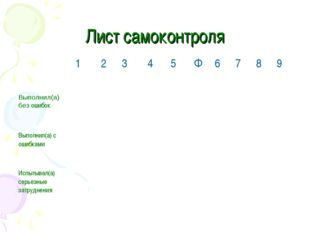 Лист самоконтроля 12345Ф6789 Выполнил(а) без ошибок Выпол