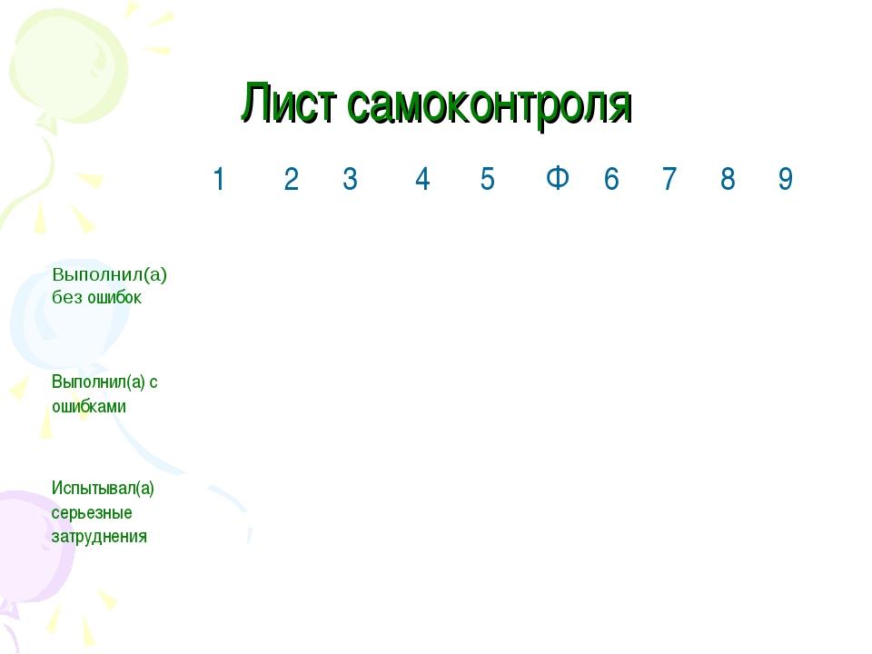 Лист самоконтроля 12345Ф6789 Выполнил(а) без ошибок Выпол...