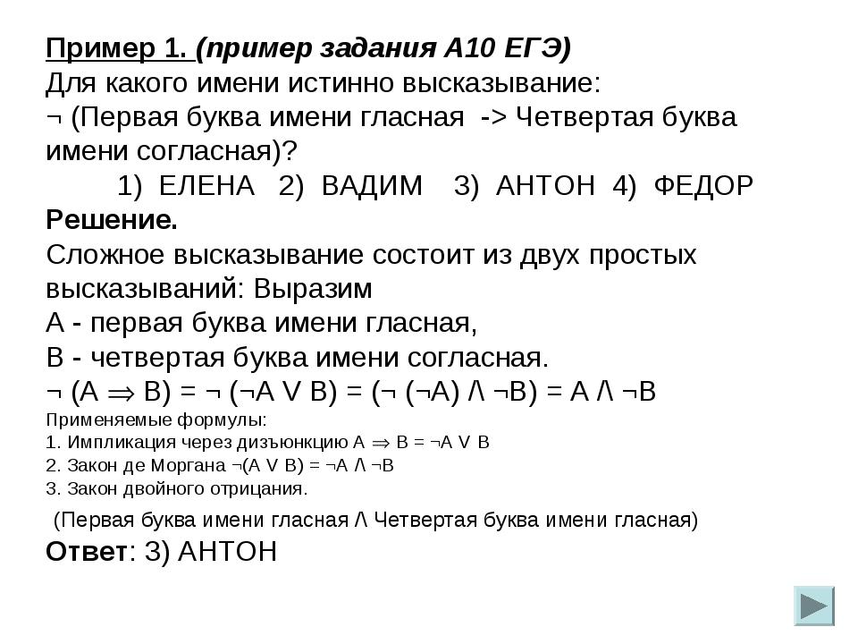 Пример 1. (пример задания А10 ЕГЭ) Для какого имени истинно высказывание: ¬ (...