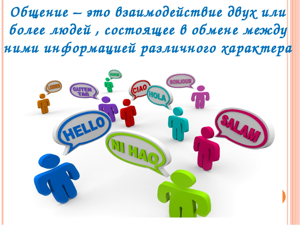 Общение – это взаимодействие двух или более людей , состоящее в обмене между...