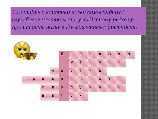 1.Впишіть у клітинки назви самостійних і службових частин мови, у виділеному...