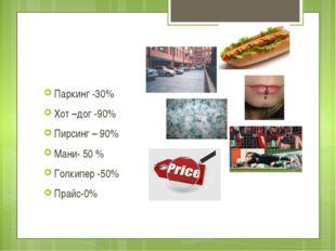 Выводы: Паркинг -30% Хот –дог -90% Пирсинг – 90% Мани- 50 % Голкипер -50% Пра