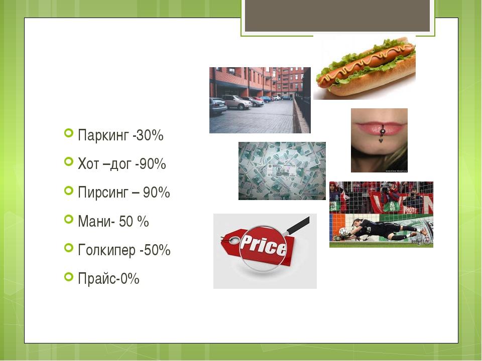 Выводы: Паркинг -30% Хот –дог -90% Пирсинг – 90% Мани- 50 % Голкипер -50% Пра...