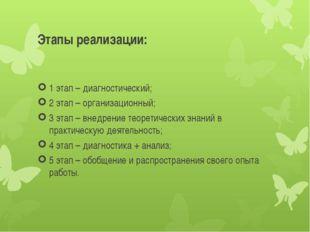 Этапы реализации: 1 этап – диагностический; 2 этап – организационный; 3 этап