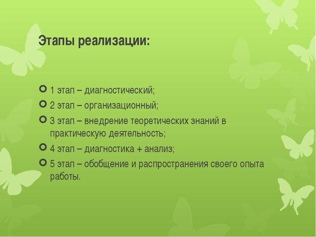 Этапы реализации: 1 этап – диагностический; 2 этап – организационный; 3 этап...